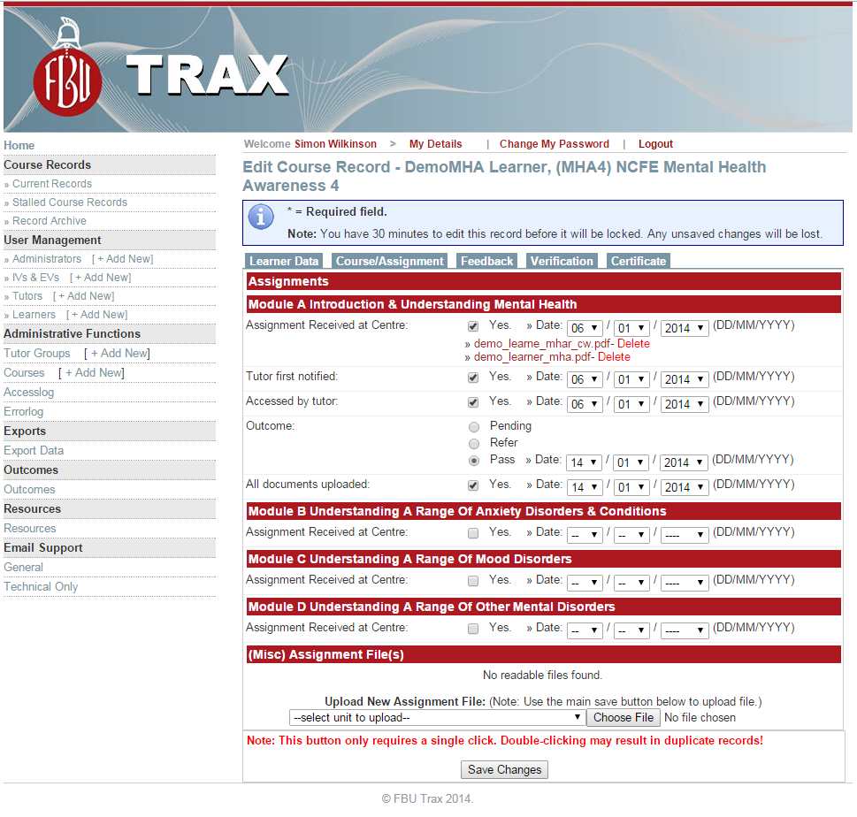 Trax bespoke web application for Fire Brigade Union
